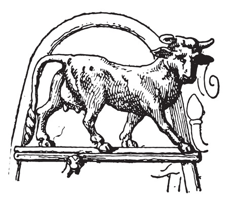 statuette: Heifer Pourtales tripod, vintage engraved illustration.