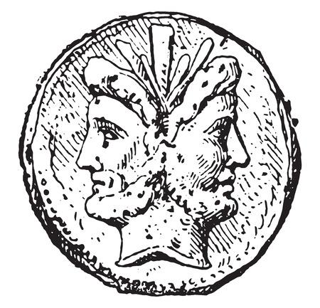 janus: Janus, vintage engraved illustration. Illustration
