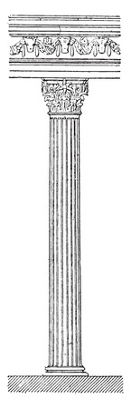 Column of the temple, vintage engraved illustration.