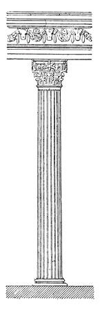 columns: Column of the temple, vintage engraved illustration.