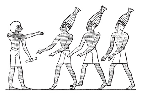 Egyptian buffoons, vintage engraved illustration.