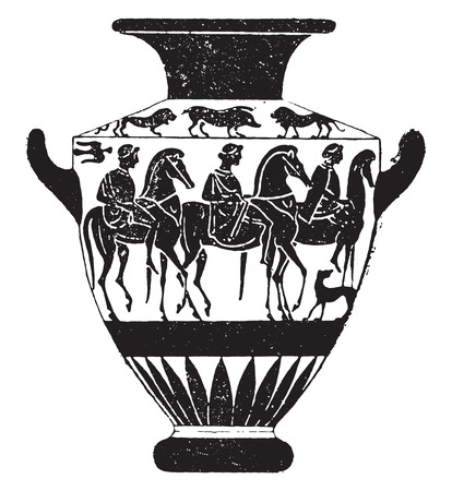 paint container: Vase painted with black figures, vintage engraved illustration.