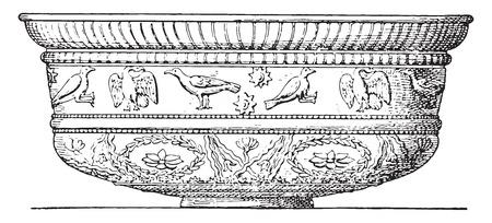 bowls: Terracotta vase, vintage engraved illustration.