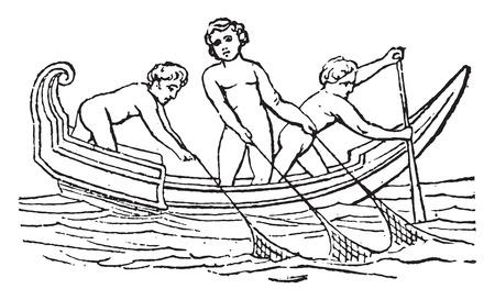 Net fishing, vintage engraved illustration.