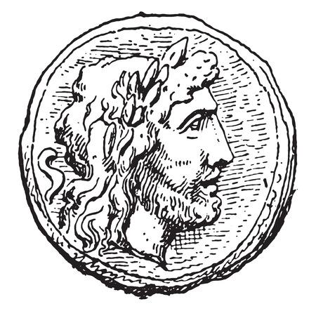 jupiter: Jupiter, vintage engraved illustration. Illustration