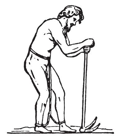 chained: Laborer slave, vintage engraved illustration.