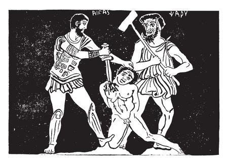 Murder scene, vintage engraved illustration. Ilustração