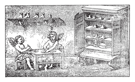 cobbler: Geniuses shoemakers, vintage engraved illustration.