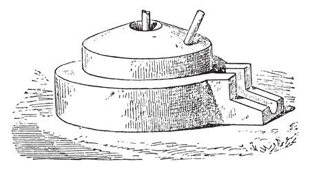 Grinding Wheel, vintage engraved illustration. Vettoriali
