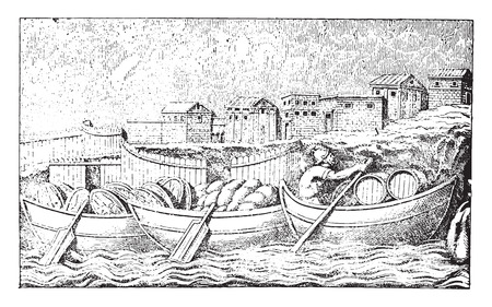 Boats and city, vintage engraved illustration. Illustration