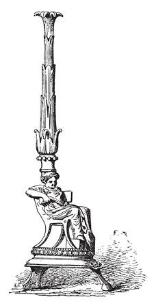 Candelabro etrusco, vintage illustrazione inciso.