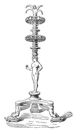 candelabra: Candelabra, vintage engraved illustration. Illustration