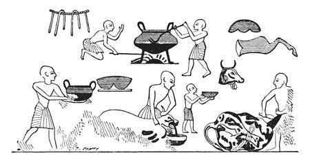 slaughter: Egyptian cooks, vintage engraved illustration.