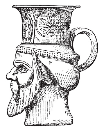 earthenware: Vase-shaped head, vintage engraved illustration.