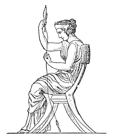 spinning: Spinning machine, vintage engraved illustration. Illustration