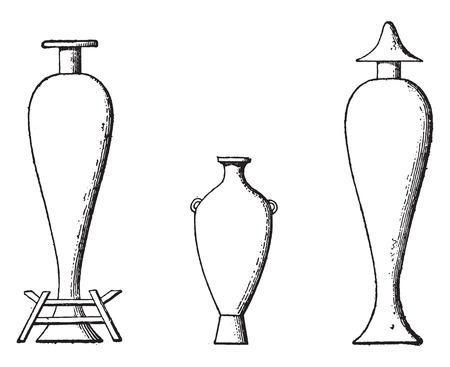 anforas: Ánforas de aceite, ilustración de la vendimia grabado.