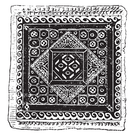 textiles: Egyptian embroidery, vintage engraved illustration.