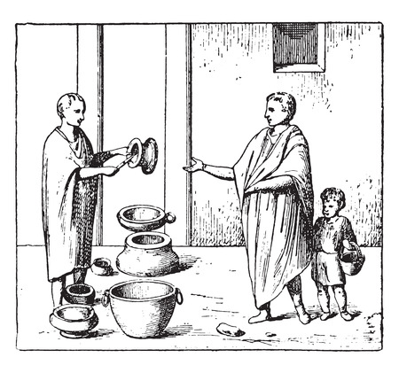 earthenware: Merchant of pottery, vintage engraved illustration. Illustration
