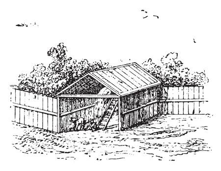 vintage drawing: Horse barn, vintage engraved illustration. Illustration