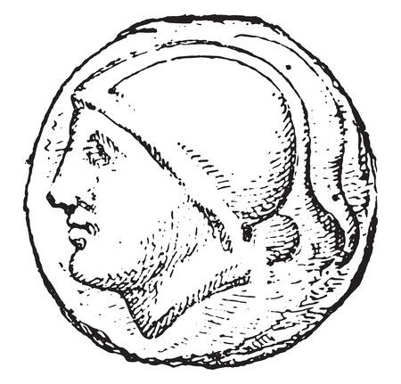 Roman currency, vintage engraved illustration.