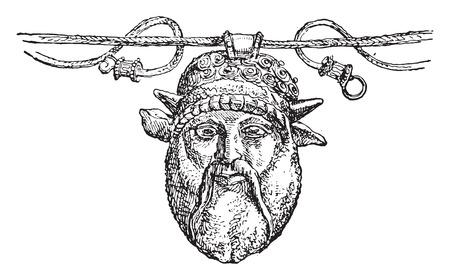 etruscan: Fragment of Etruscan gold necklace, vintage engraved illustration.