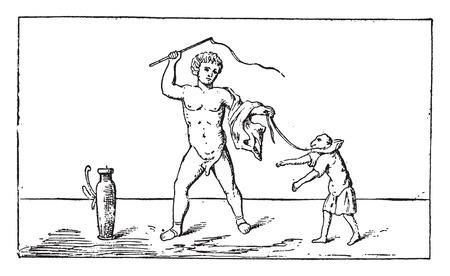showman: Showman del mono, ilustraci�n de la vendimia grabado.