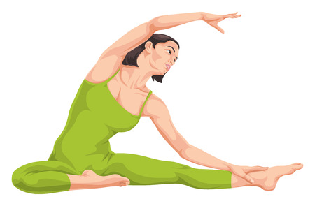 flexible: Vector illustration of woman in yoga pose.