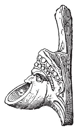 Gargoyle mask, vintage engraved illustration.