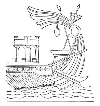 Aplustre, vintage engraved illustration.