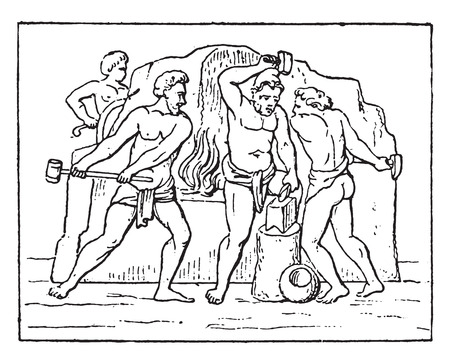Ancient Forge, vintage engraved illustration.