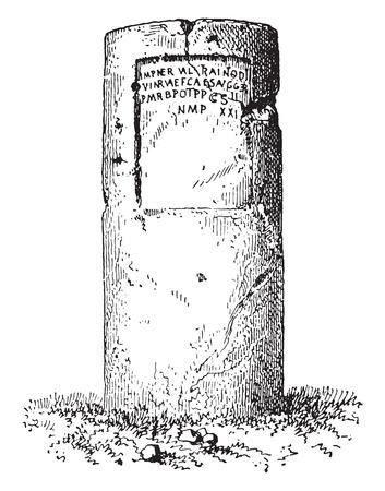 milepost: Milestone, vintage engraved illustration.