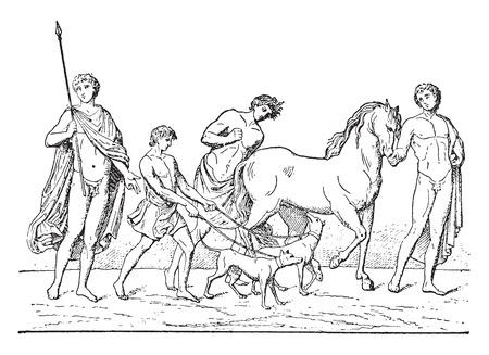 Departure of Adonis, vintage engraved illustration.