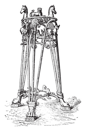 tripod: Tripod of the Pourtales collection, vintage engraved illustration.