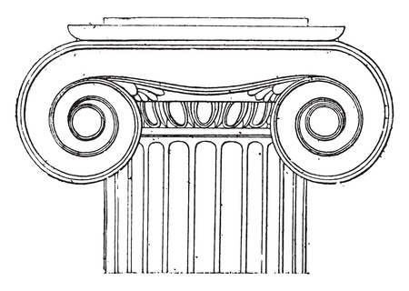 ionic: Ionic capital of the Temple of Wingless Victory, vintage engraved illustration. Illustration