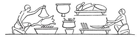 preparing food: Chefs preparing food, vintage engraved illustration. Illustration
