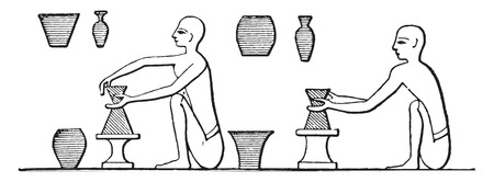 earthenware: Manufacture of pottery, vintage engraved illustration.