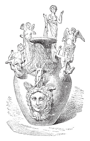 earthenware: Votiva Jarr�n de Apulia, vintage grabado ilustraci�n.