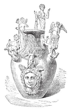 votive: Votive Vase of Apulia, vintage engraved illustration. Illustration