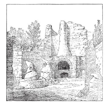 old ruin: Bakery in Pompeii, vintage engraved illustration.