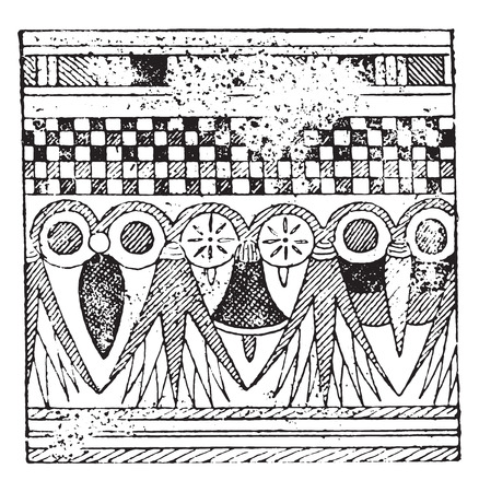 thebes: Egyptian ornament draws a tomb of Thebes, vintage engraved illustration.