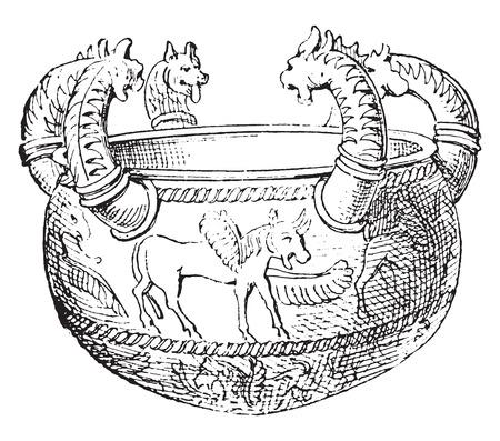 etruscan: Etruscan vases in bronze, vintage engraved illustration.