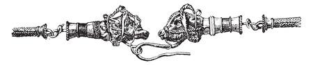 Fragment necklace, vintage engraved illustration. Ilustracja