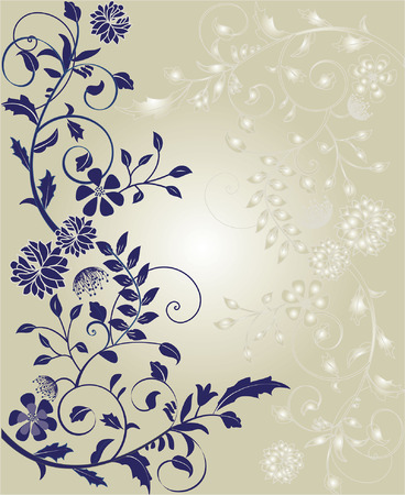 Vintage invitation card with ornate elegant retro abstract floral design, blue violet flowers and leaves on gradient gray and white background with text label. Vector illustration. Vettoriali
