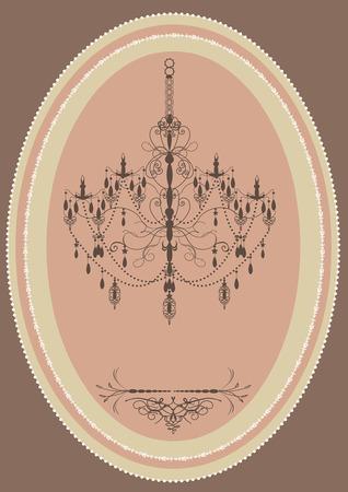 pink vintage: Vintage oblong frame with elegant retro design, chandelier, pink. Vector illustration.
