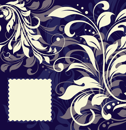 Vintage invitation card with ornate elegant abstract floral design, gray and white on blue. Vector illustration.