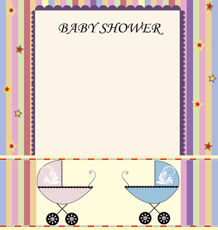 vintage baby: Vintage baby shower invitation card with elegant retro abstract colorful stars and stripes design, with pink and blue baby carriage. Vector illustration.
