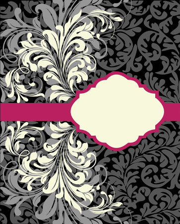 pink and black: Vintage invitation card with ornate elegant abstract floral design, white and gray on black with fuschia pink ribbon. Vector illustration.