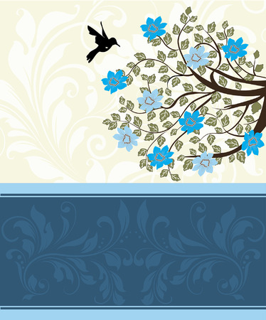 Vintage invitation card with ornate elegant abstract floral tree design, blue flowers on pale yellow with bird. Vector illustration. Illustration