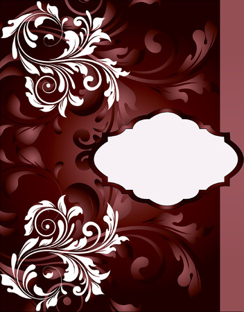 Vintage invitation card with ornate elegant abstract floral design, temptress red and white flowers. Vector illustration.