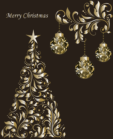 Vintage Christmas card with ornate elegant retro abstract floral design, balls and tree with shiny gold flowers and leaves on dark chocolate brown background with text label. Vector illustration. Illustration